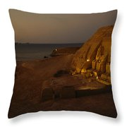 Dusk Descends On Abu Simbel With Lake Throw Pillow by O. Louis Mazzatenta