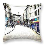 Dutch Shopping Street- Digital Art Throw Pillow by Carol Groenen
