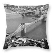 East River Bridges New York Throw Pillow by Gary Eason