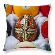 Easter Egg Among Pool Balls Throw Pillow by Garry Gay