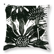 Echinacea Block Print Throw Pillow by Ellen Miffitt