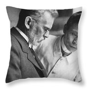 Ehrlich And Hata, Discovered Syphilis Throw Pillow by Science Source