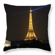 Eiffel Tower at Night Throw Pillow by Jennifer Lyon