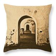 El Morro Fort Barracks Arched Doorways San Juan Puerto Rico Prints Rustic Throw Pillow by Shawn O'Brien