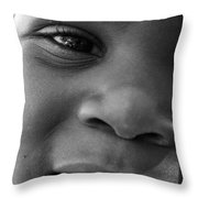 Emery Smile Throw Pillow by Sally Bauer