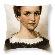 Emily Dickinson, American Poet Throw Pillow by Photo Researchers