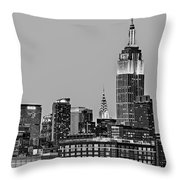 Empire State Bw Throw Pillow by Susan Candelario