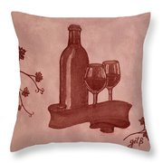 Enjoying Red Wine  Painting With Red Wine Throw Pillow by Georgeta  Blanaru