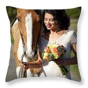 Equine Companion Throw Pillow by Sri Maiava Rusden