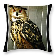 Eurasian Eagle-owl With Oil Painting Effect Throw Pillow by Rose Santuci-Sofranko