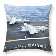 Fa-18 Aircraft Prepare To Take Throw Pillow by Stocktrek Images
