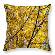 Fall Trees Art Prints Yellow Autumn Leaves Throw Pillow by Baslee Troutman