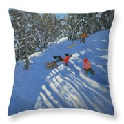 Falling off the Sledge Throw Pillow by Andrew Macara