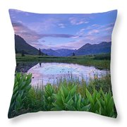 False Hellebore Surrounded Pond Throw Pillow by Tim Fitzharris