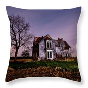 Farm House At Night Throw Pillow by Cale Best