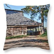 Farm Scene At Booker T. Washington National Monument Park Throw Pillow by James Woody