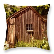 Farming Shed Throw Pillow by Lourry Legarde