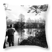 Father And Daughter - River Dee Chester Throw Pillow by Georgia Fowler