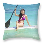 Female Paddler II Throw Pillow by Tomas del Amo