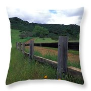 Fence And Poppies Throw Pillow by Kathy Yates