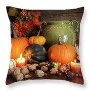 Festive Autumn Variety Of Gourds And Pumpkins Throw Pillow by Sandra Cunningham