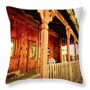 Fiddletown Saloon Throw Pillow by Cheryl Young