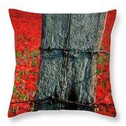 Field Of Poppies With A Wooden Post. Throw Pillow by Bernard Jaubert