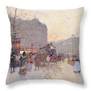 Figures In The Place De La Bastille Throw Pillow by Eugene Galien-Laloue