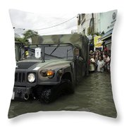 Filipino Citizens Stand In Line Throw Pillow by Stocktrek Images