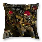 Firemen Combat A Simulated Fire Aboard Throw Pillow by Stocktrek Images
