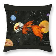 Fish In Space Throw Pillow by Nora Blansett