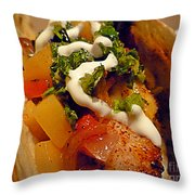 Fish Taco With Mango Salsa Throw Pillow by Renee Trenholm