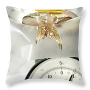 Fish With Lemon Slice On Weight Scale Throw Pillow by Sandra Cunningham