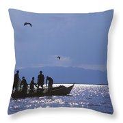 Fishermen Pulling Fishing Nets On Small Throw Pillow by Axiom Photographic