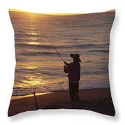 Fishing At Sunrise Throw Pillow by Raymond Gehman