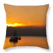 Fishing Boat At Sunrise Throw Pillow by Steve Gadomski