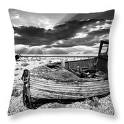 Fishing Boat Graveyard Throw Pillow by Meirion Matthias