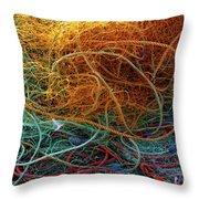 Fishing Nets Throw Pillow by Carlos Caetano