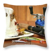 Fishing Reel With Hat And Color Lures Throw Pillow by Sandra Cunningham