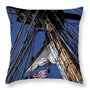 Flag In The Rigging Throw Pillow by Garry Gay