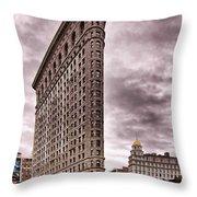 Flat Iron Building Throw Pillow by Michael Dorn