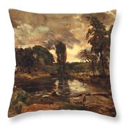 Flatford Mill From The Lock Throw Pillow by John Constable
