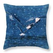 Flock  Throw Pillow by Debra  Miller
