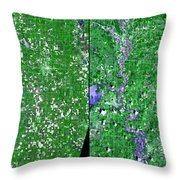 Flooding In Kansas Throw Pillow by Nasa