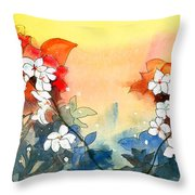 Floral Neklace Throw Pillow by Anil Nene