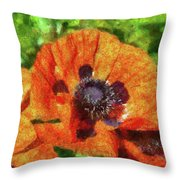 Flower - Poppy - Orange Poppies  Throw Pillow by Mike Savad