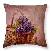 Flower Basket Throw Pillow by Judi Bagwell