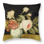 Flowers In A Delft Jar  Throw Pillow by Alexander Marshal