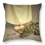 Flowers On The Street Throw Pillow by Joana Kruse