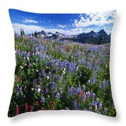 Flowers With Tattosh Mountains, Mt Throw Pillow by Natural Selection Craig Tuttle